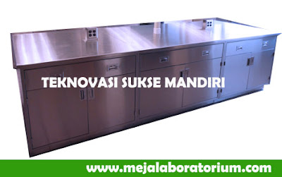 Meja Laboratorium Island  bench - stainless steel