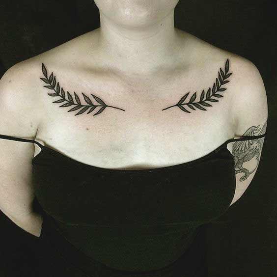 leaf collar bone tattoos for women