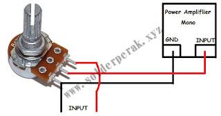 skematik, rangkaian, rangkaian penambah volume, cara menambah volume pada amplifier, dengan potensio mono,