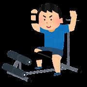 トレーニングマシンで筋トレをする男性のイラスト