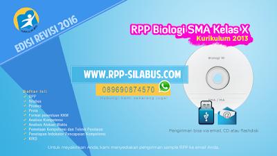 Jual RPP Biologi SMA Kelas X Kurikulum 2013 Revisi 2016