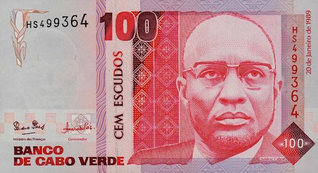 Currency of Cape Verde 100 Escudos banknote 1989 Amilcar Cabral