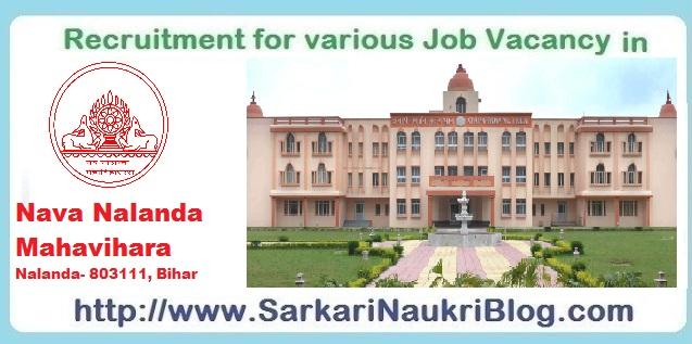 Naukri Vacancy Recruitment in Nava Nalanda Mahavihara