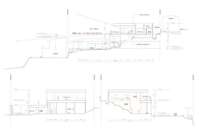 相模湾を望む白い大広間の家 断面計画