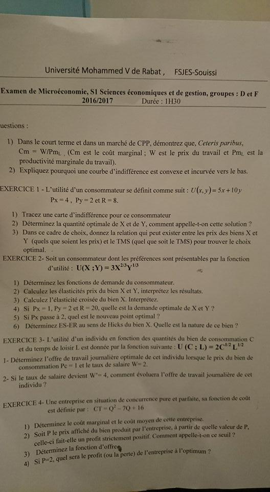Examen de Microéconomie S1