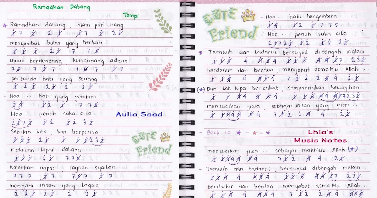 Not Angka Tompi Ramadhan Datang not angka lagu terbaru