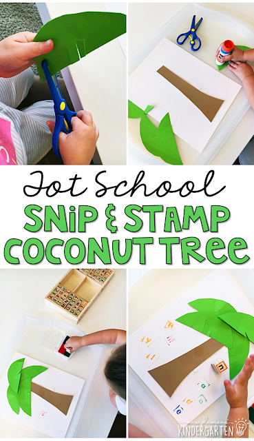 This snip and stamp coconut tree is great for alphabet and fine motor practice with a Chicka Chicka Boom Boom theme. Great for tot school, preschool, or even kindergarten!