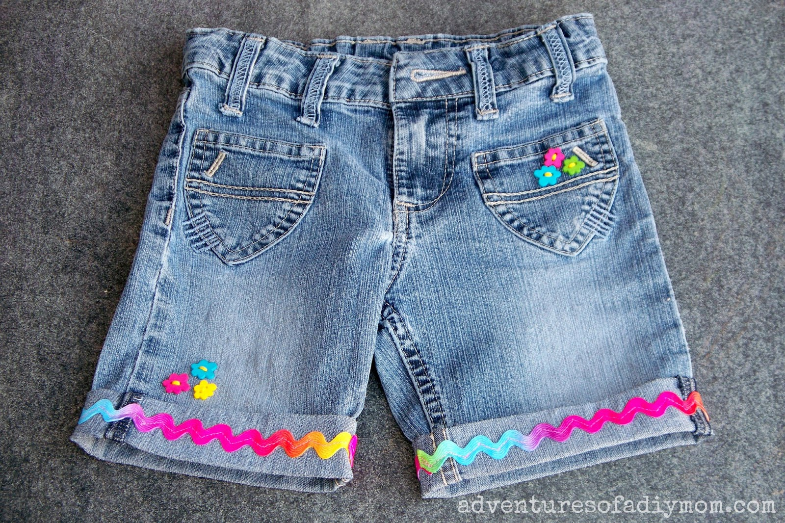 Cuffed Shorts with Ribbon and Buttons - Cut off Jean Shorts Series