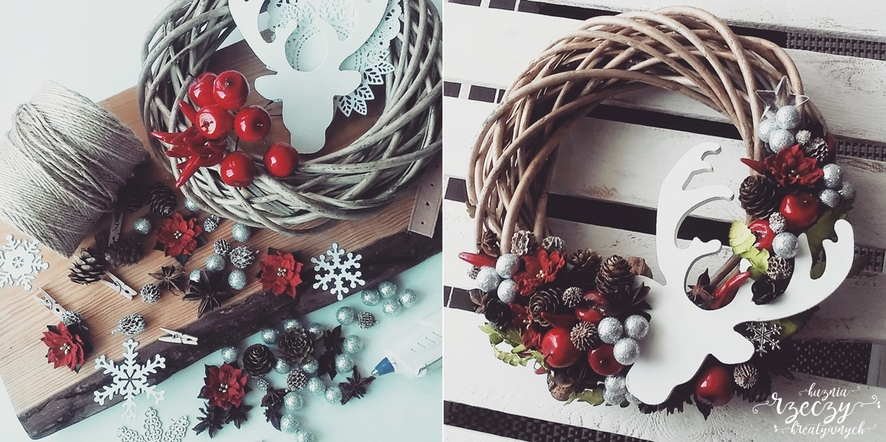 Klimatyczny, stroik świąteczny bożonarodzeniowy ręcznie wykonany.