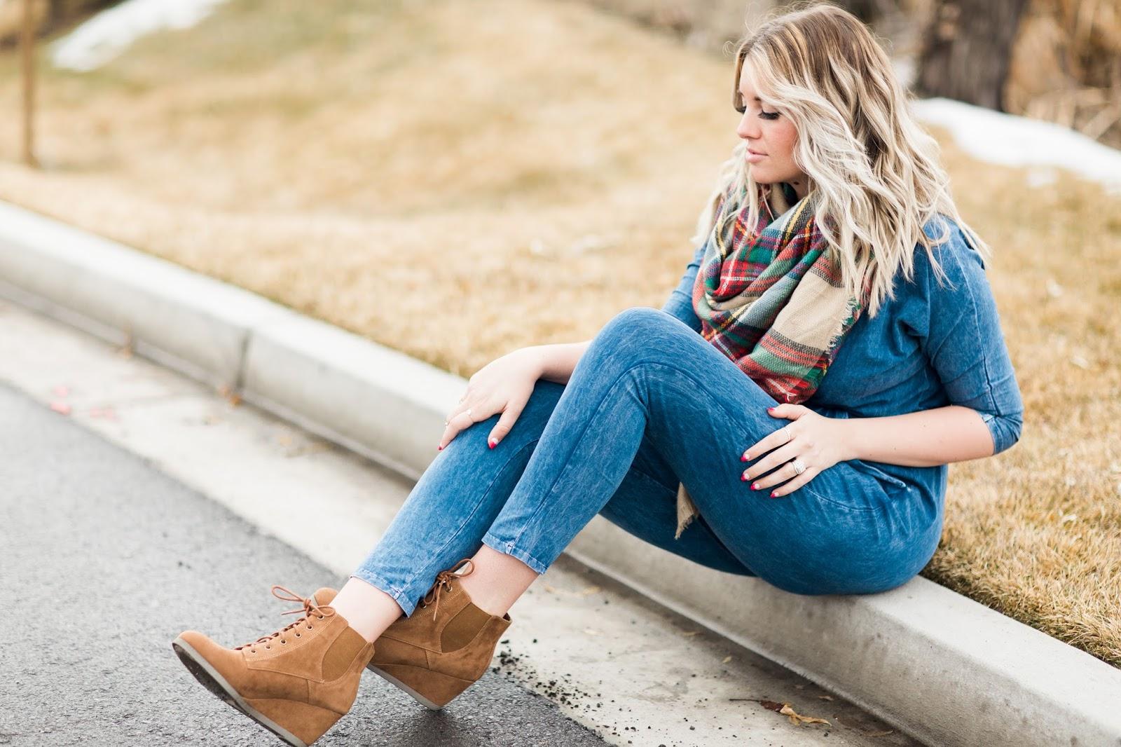 Plaid Scarf, Denim Jumpsuit, Utah Fashion Blogger