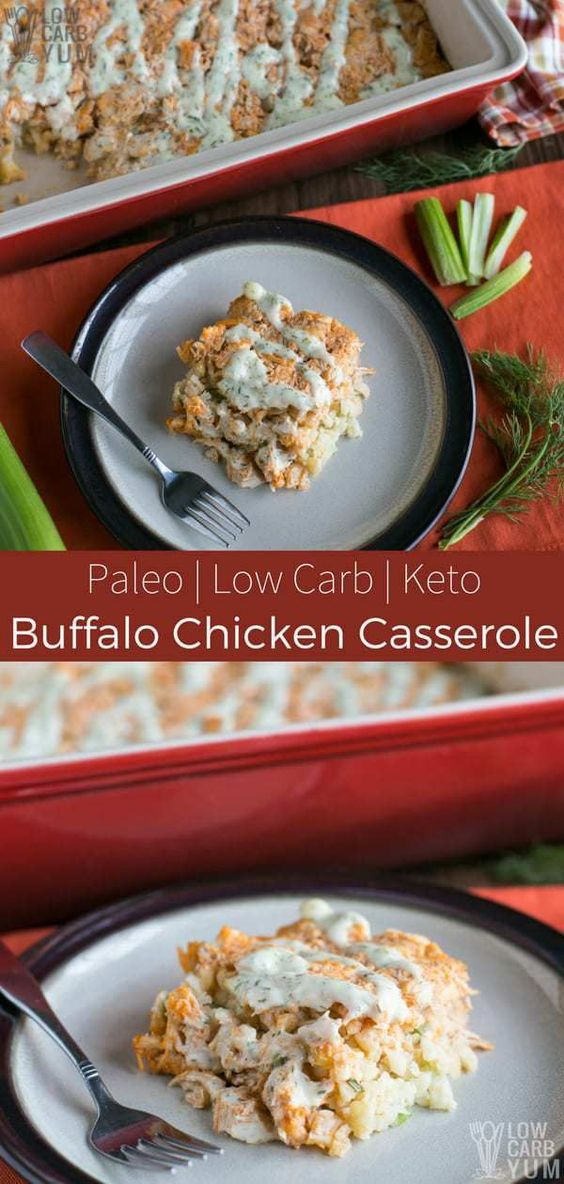 Low Carb/Keto Paleo Buffalo Chicken Casserole Recipe