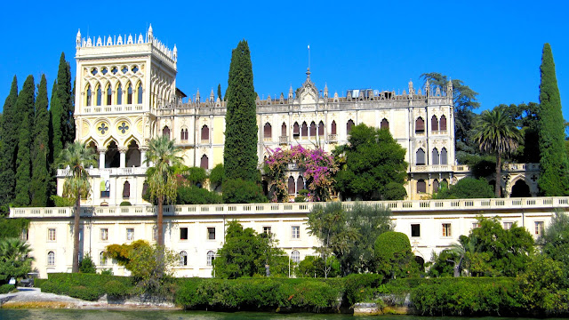 The extravagant Venetian-Gothic manor—Villa Borghese-Cavazza—is located on the private island of Isola del Garda.