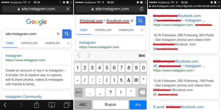 Site etiketi kullanılarak yapılan sorgular daha çok Instagram adresi listeleyecektir.