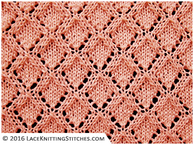 Lace knitting No.31 |  Here's a simple design with lacy diamonds. This is a beautiful stitch pattern and easy to knit up.