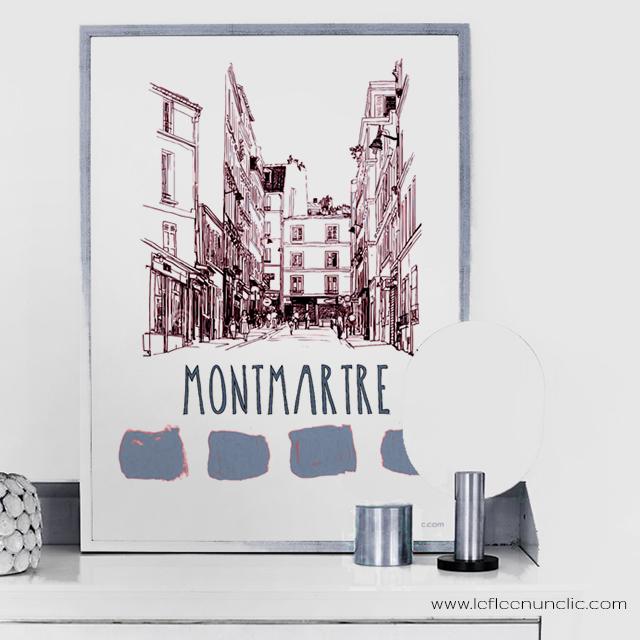 Montmartre, Paris, affiche, FLE, le FLE en un 'clic'