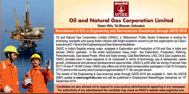 ONGC Graduate Trainees Recruitment through GATE 2019: