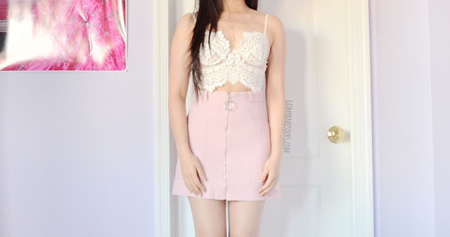 Pastel pink o-ring a-line mini skirt from Romwe, paired with For Love and Lemons She's a Knockout white lace bralette and satin bomber jacket
