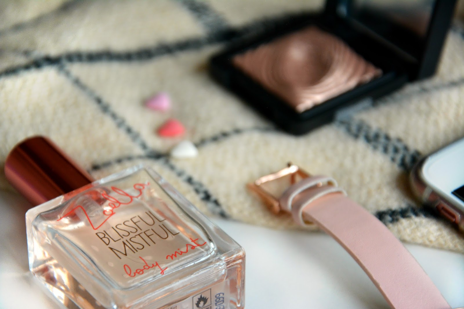 Zoella Blissful Mistful Body Mist, Asos Watch, Kiko Eyeshadow, Zara Scarf