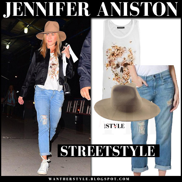 Jennifer Aniston in black bomber jacket, white top, ripped jeans and camel hat what she wore streetstyle
