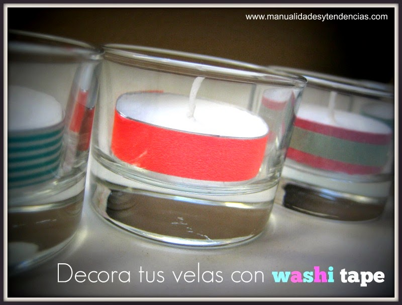 Velas decoradas con washi tape / Decorated tea candles / Bougies decorées avec du masking tape