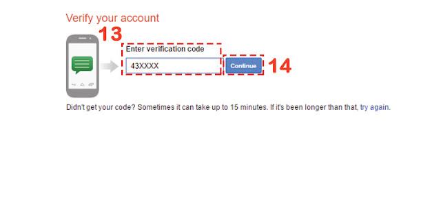 Masukan Kode Verifikasi Pada SMS Pada Akun Gmail Baru
