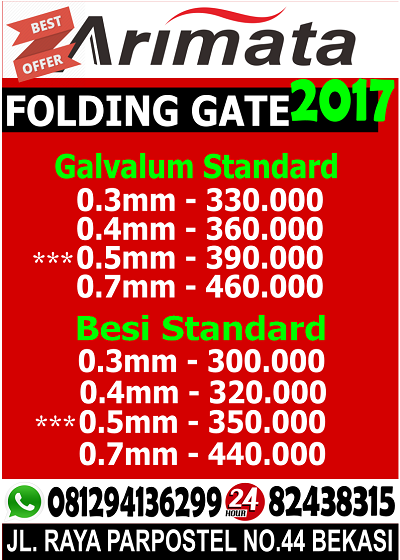 gambar daftar harga folding gate di Bekasi