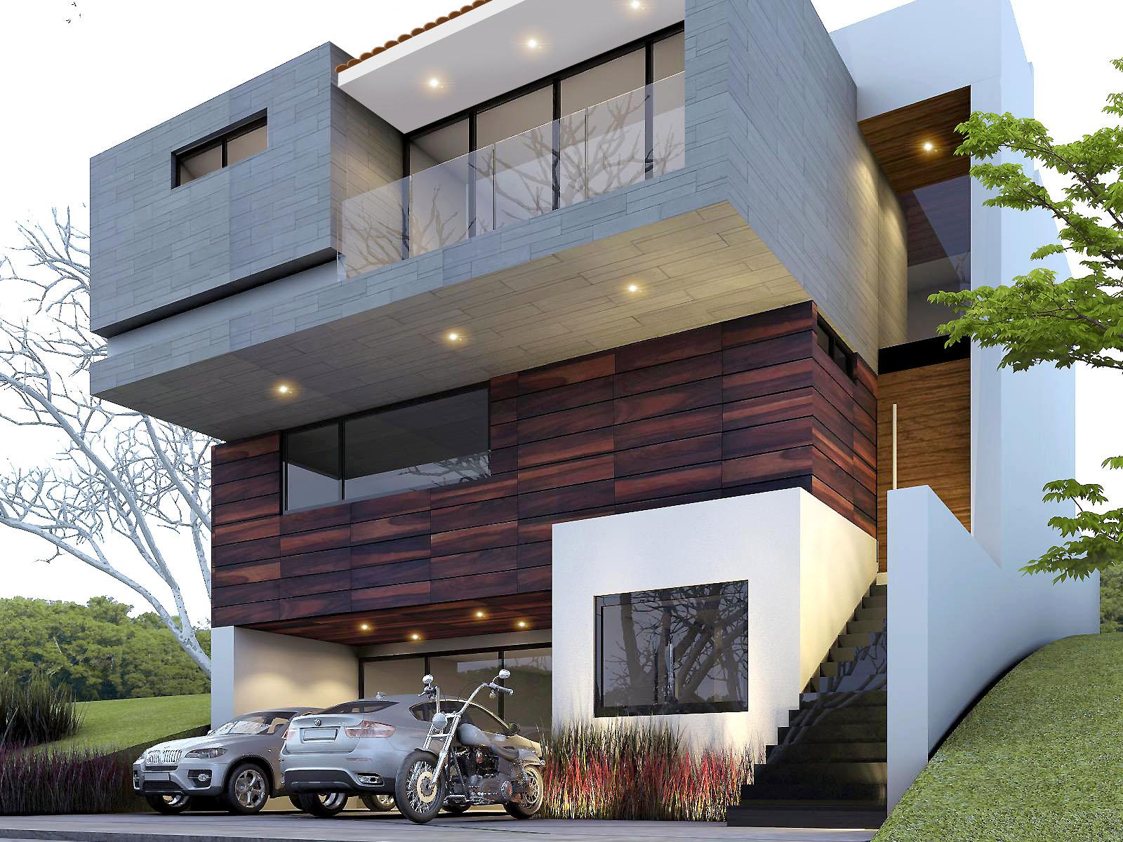 fachada de casa moderna minimalista de tres pisos en lote inclinado