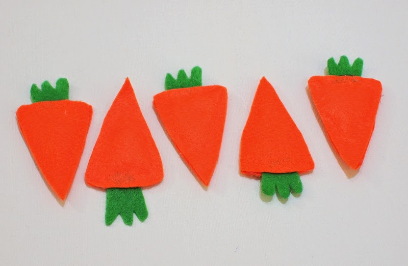 Easy no sew felt carrot bean bags for Easter