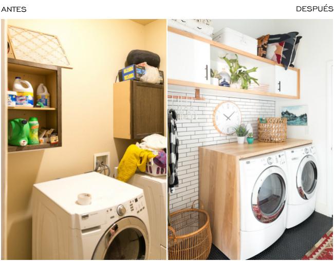 Antes y después cuarto lavadora