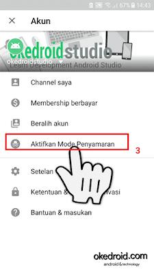 Memilih Aktfikan Mode Incognito atau Penyamaran Aplikasi Youtube Android