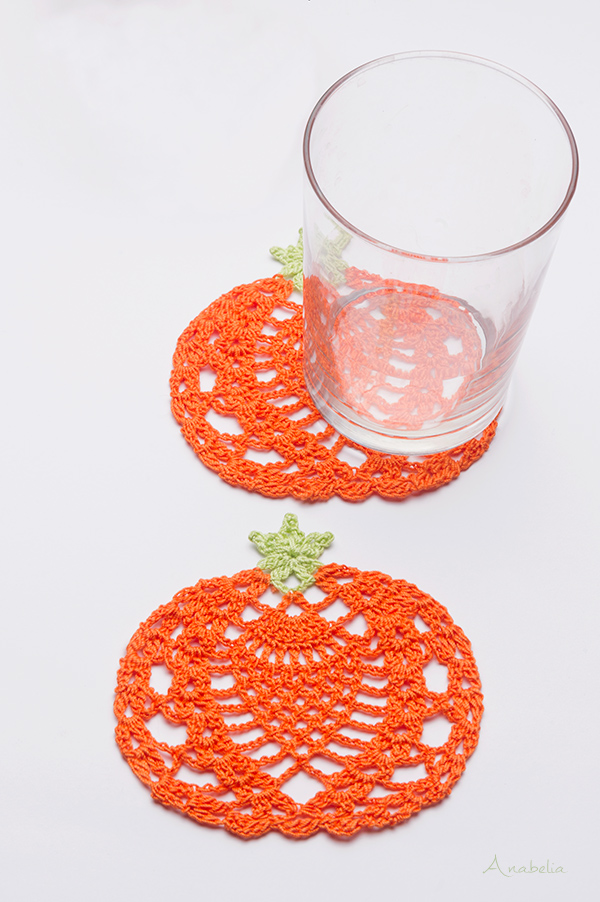 Halloween crochet pumpkin coasters free pattern, Anabelia Craft Design