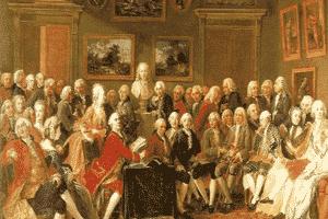 Típico salón de la época de la Ilustración, en el que se reunían los intelectuales y pensadores