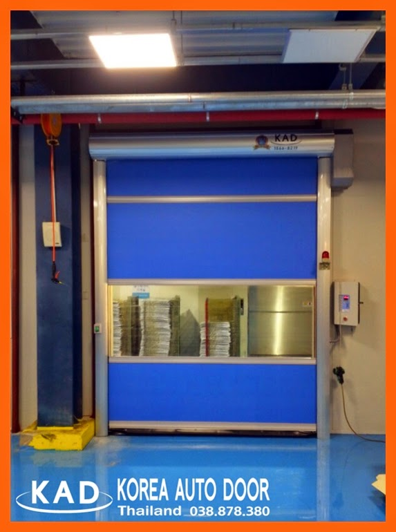 show blue color high speed door with button switch sensor