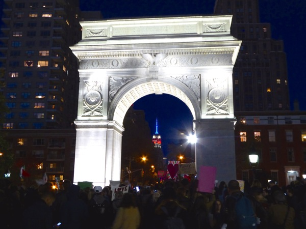 Washington Square Park Not My President rally