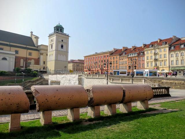 Remnants of the original Sigismund's Column in Warsaw, Poland