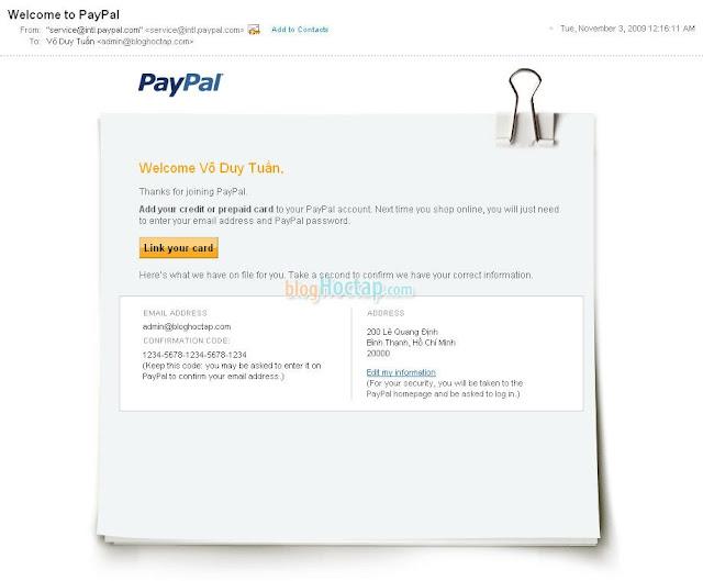Xác nhận địa chỉ Email cho tài khoản Paypal bước 1