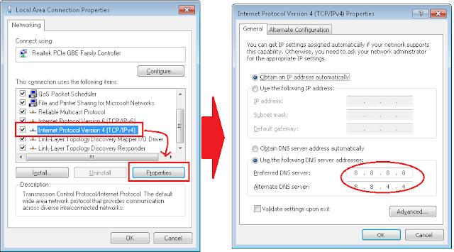 Cara mengganti IP DNS di komputer