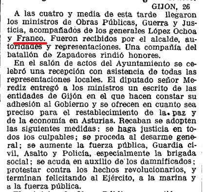¿Qué pensarían los de Potemos si se enteran que quien controló la rebelión de octubre de 1934 en Asturias en defensa de la República fue el general Franco?  La Vanguardia, 27 octubre de 1934