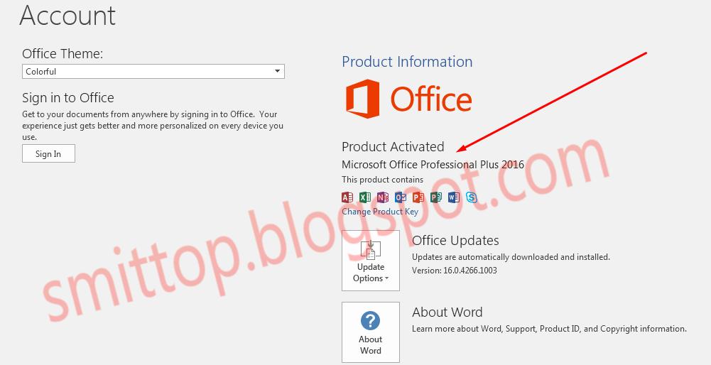 change product key office 2016 pro