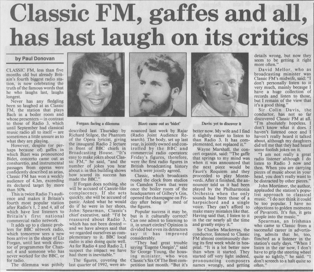 Sunday times 31 january 1993 former radio 3 announcer tony scotland was drafted in to classic fm to help with those tricky bits of classical pronunciation