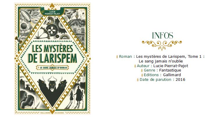 Avis Lecture • Les Mystères de Larispem - Lucie Pierrat-Pajot roman