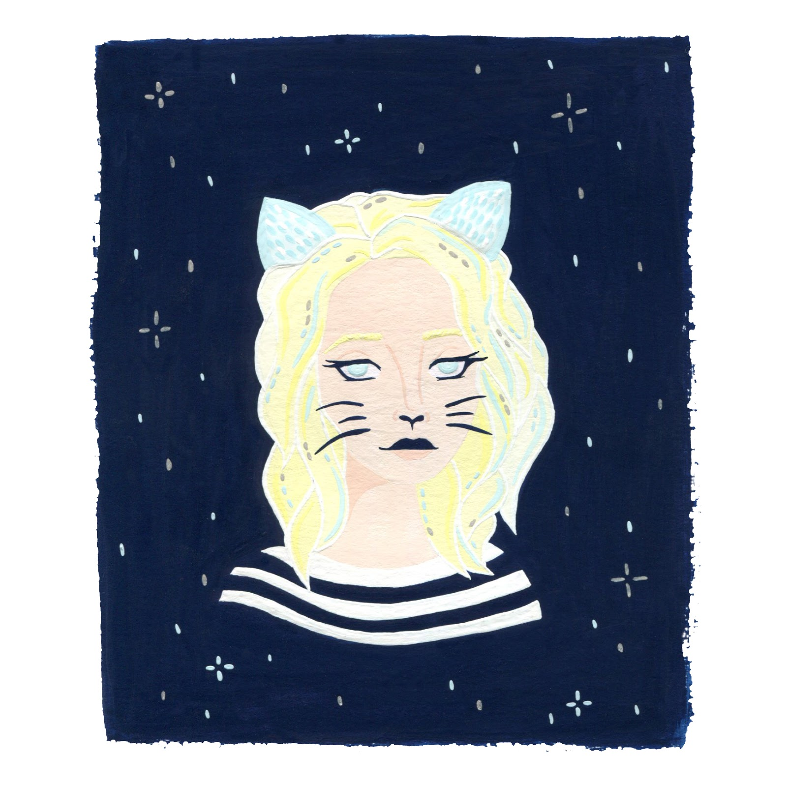 gouache illustration of a lady combined with cat ears and a starry background
