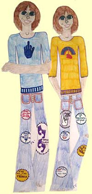 Teenage girl and boy drawn with embroidered jeans