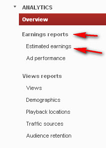 تقارير AdSense عن أرباحك ضمن حسابك المستضاف على Youtube تدار على YouTube Analytics