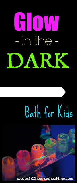 Glow in the Dark Bath for Kids - this is such a fun idea for some really fun kids activities! Perfect for summer bucket list or rainy day fun for kids of all ages