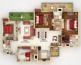 rumah banglo setingkat 4 bilik