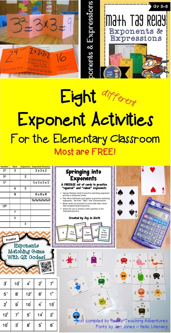 Exponents are important to teach! Students should have the basic ones memorized, but they need to understand the concept for ALL exponents. This is especially true when they are learning Order of Operation! This blog post has a round up of great exponent ideas!