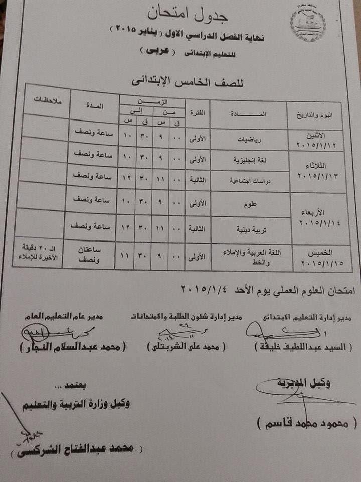جدول امتحان الشهادة الابتدائيه الترم الاول 2015 محافظة مطروح - الشهادة الابتدائيه