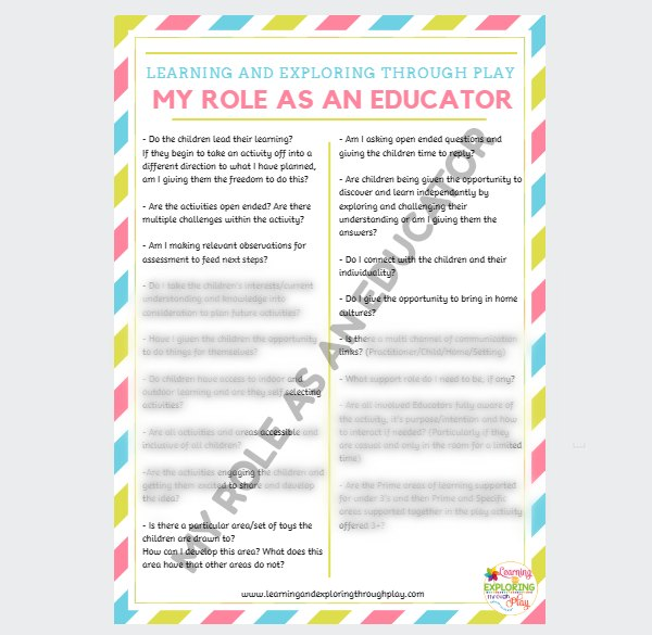 My Role as an Educator Poster