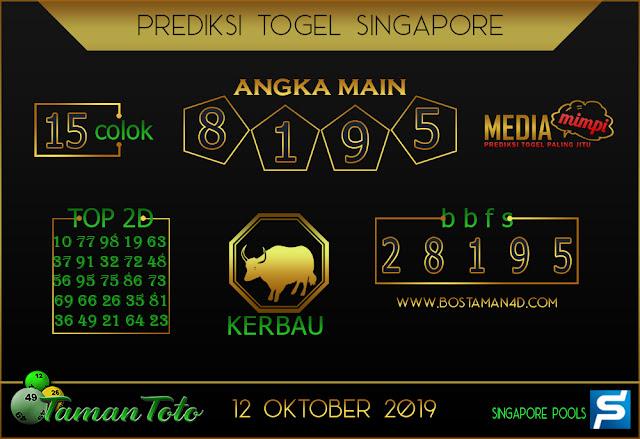 Prediksi Togel SINGAPORE TAMAN TOTO 12 OKTOBER 2019